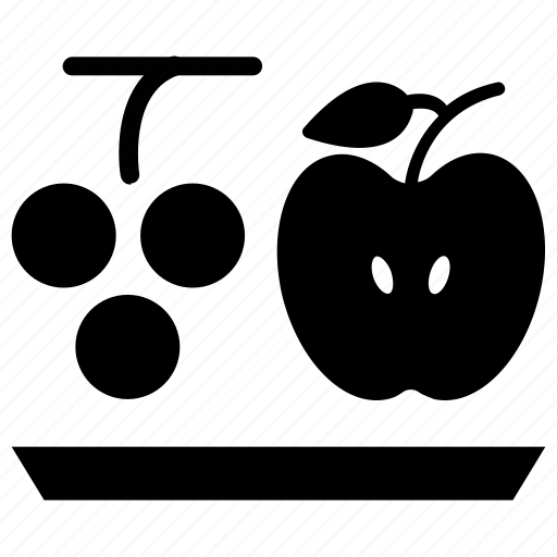 apple, fruits, grapes, healthy food icon