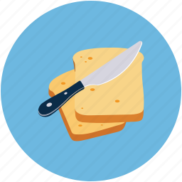 bread slices, bread with butter, food, knife icon