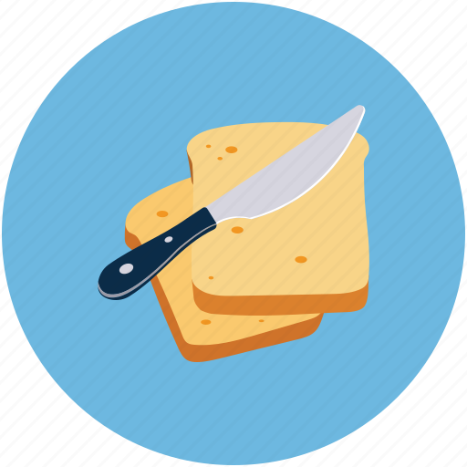 Bread slices, bread with butter, food, knife icon - Download on Iconfinder
