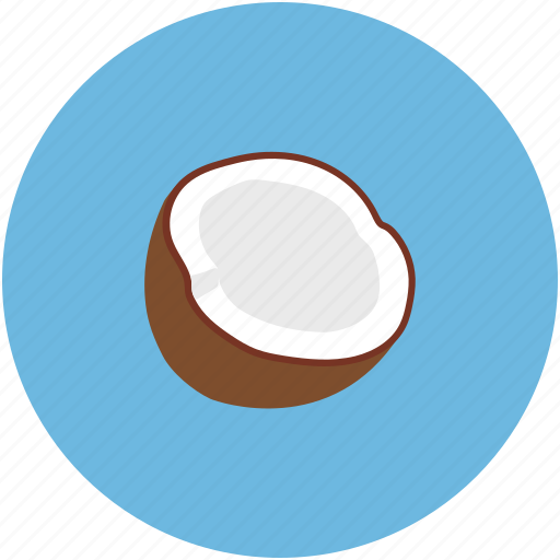 broken coconut, coconut, half coconut, palm icon