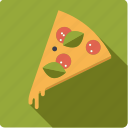 basil, fast food, food, junk food, pizza, salami, slice icon