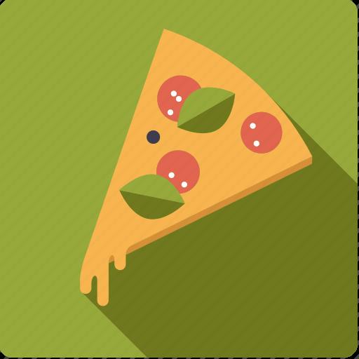 basil, fast food, food, junk food, pizza, salami, slice icon