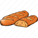 baguette, bread, french, loaf icon