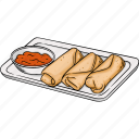 appetizer, egg, fried, roll, snack icon