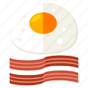 bacon, eggs, breakfast, cook, egg, food