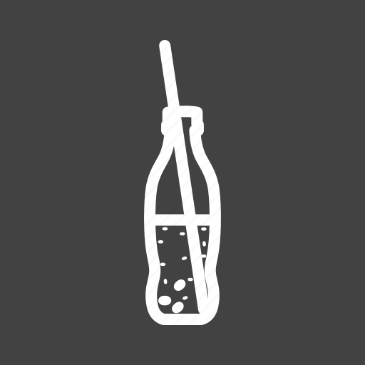 bottle, carbonated, cola, cold drink, drink, soda, straw icon