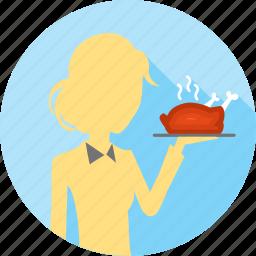 chicken, hot chicken, restaurant, roasted, service, serving, waitress icon