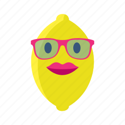 fruit, lemon, limon, lips, sunglasses, vegetables, yellow icon