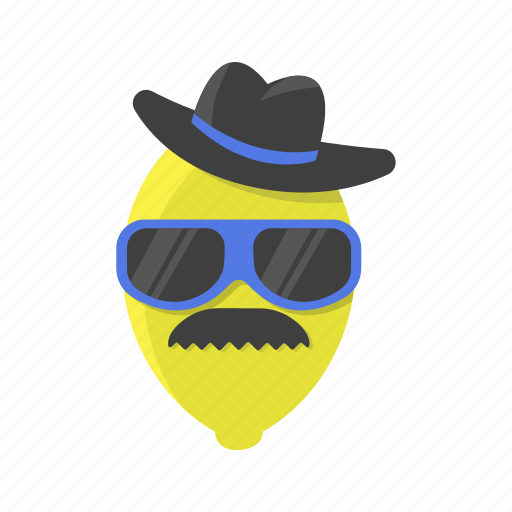 cap, hat, lemon, limon, mustache, sunglasses, vegetables icon