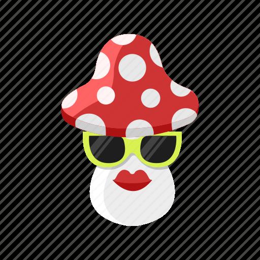 fly agaric, lips, mushroom, spot, sunglasses icon