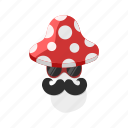 fly agaric, mushroom, mustache, spot, sunglasses icon