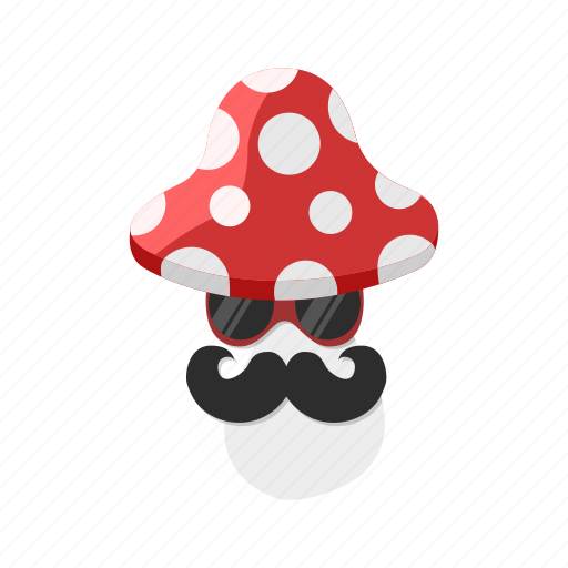 fly agaric, mushroom, mustache, spot, sunglasses icon