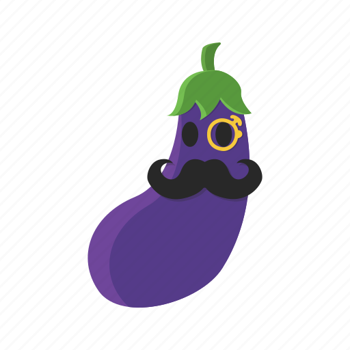 eggplant, food, mustache, purple, vegetables icon