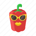 lips, paprika, pepper, red, sunglasses, vegetables icon