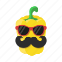food, mustache, paprika, pepper, sunglasses, vegetables, yellow icon