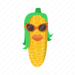 corn, green, hairstyle, lips, maize, sunglasses, yellow icon