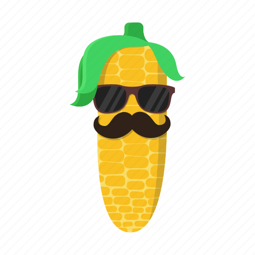 corn, green, hairstyle, maize, mustache, sunglasses, yellow icon