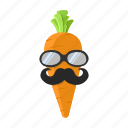 carrot, food, mustache, orange, sunglasses icon