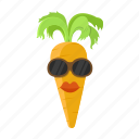 carrot, cartoon, hairstyle, lips, orange, sunglasses icon