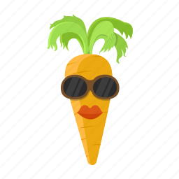 carrot, cartoon, hairstyle, lips, orange, sunglasses icon