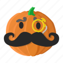 cartoon, eyes, monocle, mustache, orange, pumpkin icon