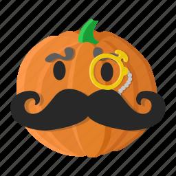cartoon, eyes, monocle, mustache, orange, pumpkin icon