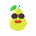 food, fruit, leaf, lips, pear, sunglasses icon