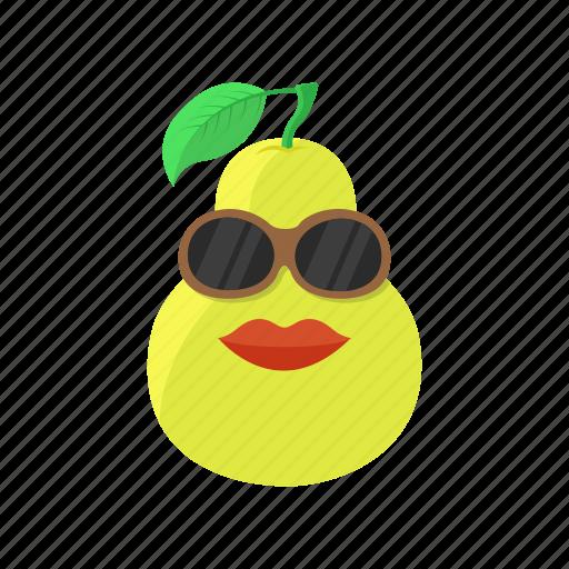 food, fruit, leaf, lips, pear, sunglasses icon