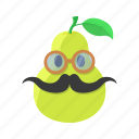 fruit, glasses, leaf, mustache, pear icon