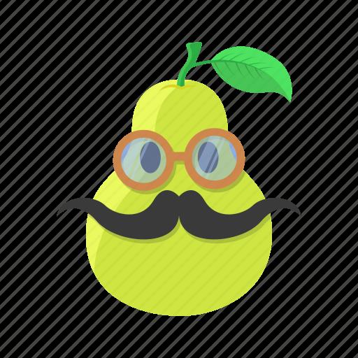 fruit, glasses, leaf, mustache, pear icon