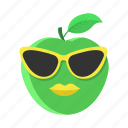 apple, fruit, green, leaf, lips, sunglasses icon