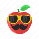 apple, cartoon, fruit, leaf, mustache, red, sunglasses icon