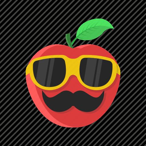 apple, cartoon, fruit, leaf, mustache, red, sunglasses icon