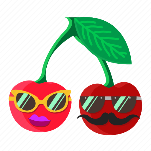 cherry, fruit, leaf, lips, mustache, red, sunglasses icon
