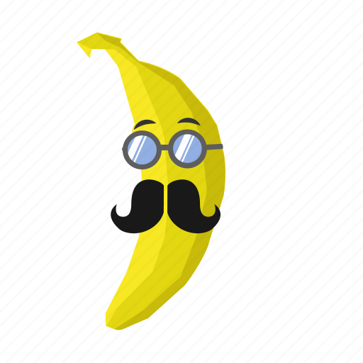 banana, fruit, glsses, mustache, yellow icon