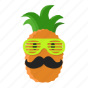 cartoon, fruit, miami, mustache, pineapple, style, sunglasses icon