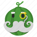 fruit, green, monocle, mustache, watermelon icon