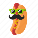 cartoon, food, hotdog, mustache, sausage, sunglasses icon