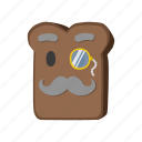 borodino, bread, monocle, mustache icon