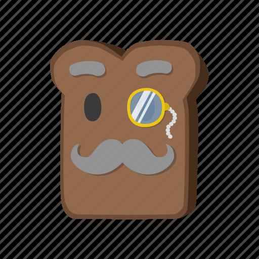 borodino, bread, monocle, mustache icon