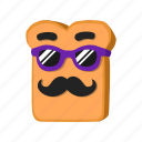 musctache, sunglasses, bread