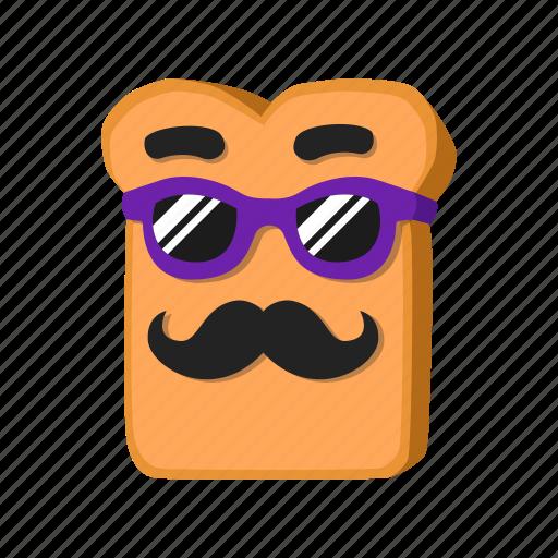 bread, musctache, sunglasses icon