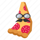 mustache, pizza, salame, sausage, sunglasses icon