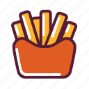 french fries, junk food, potato, snack icon