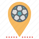 football, location, map, pin, point, pointer, sign