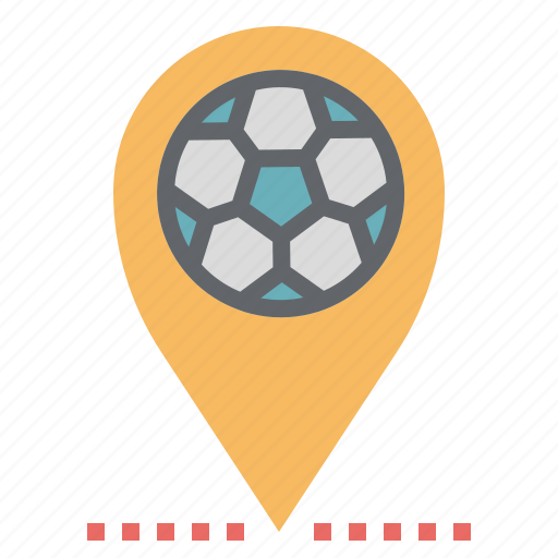 Football, location, map, pin, point, pointer, sign icon - Download on Iconfinder