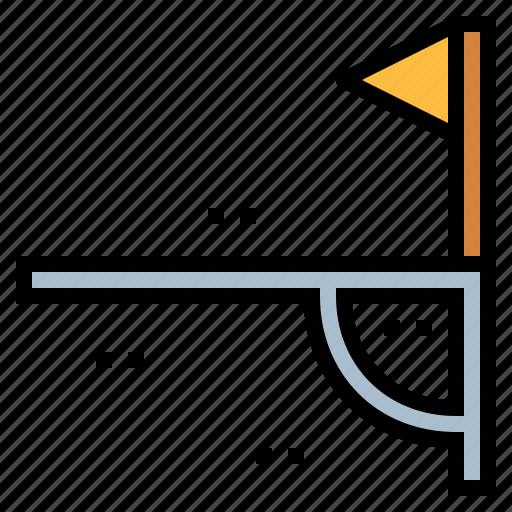angle, corner, flag, triangular icon