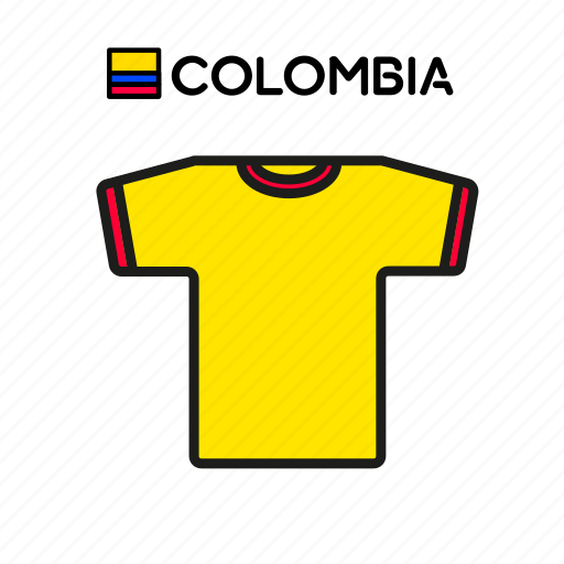 colombia, cup, football, jersey, shirt, soccer, world icon