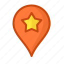 geoposition, landmark, mark, pin, point, star, tag