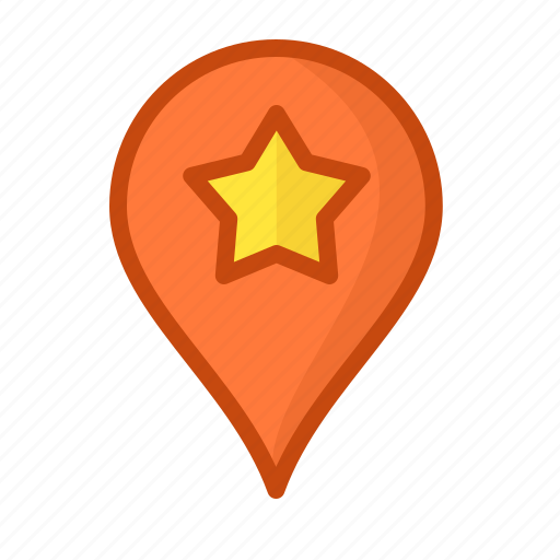 geoposition, landmark, mark, pin, point, star, tag icon